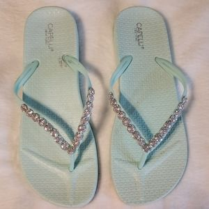 Mint Green Flip Flops with Metallic Jewels